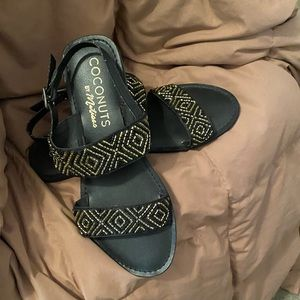 Black and gold beaded strap sandals size 9M